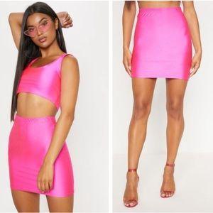 Hot pink mini skirt